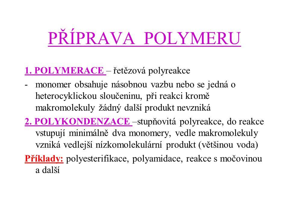 PŘÍPRAVA POLYMERU 1. POLYMERACE – řetězová polyreakce -monomer obsahuje násobnou vazbu nebo se jedná o heterocyklickou sloučeninu, při reakci kromě ma