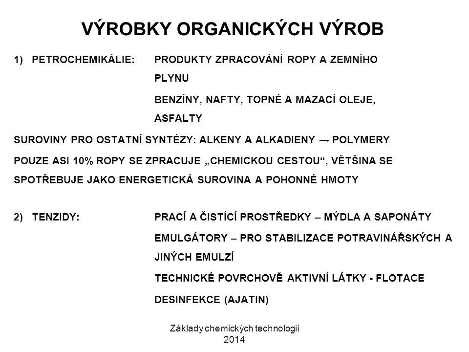 Základy chemických technologií 2014 VÝROBKY ORGANICKÝCH VÝROB 1) PETROCHEMIKÁLIE:PRODUKTY ZPRACOVÁNÍ ROPY A ZEMNÍHO PLYNU BENZÍNY, NAFTY, TOPNÉ A MAZA