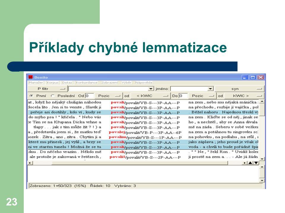 23 Příklady chybné lemmatizace