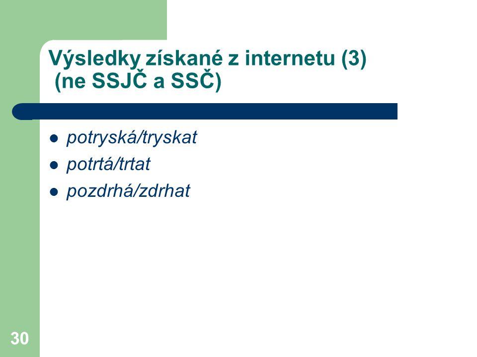 30 Výsledky získané z internetu (3) (ne SSJČ a SSČ) potryská/tryskat potrtá/trtat pozdrhá/zdrhat