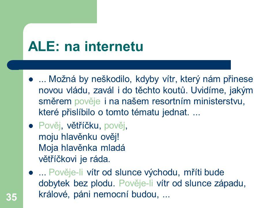 35 ALE: na internetu... Možná by neškodilo, kdyby vítr, který nám přinese novou vládu, zavál i do těchto koutů. Uvidíme, jakým směrem pověje i na naše
