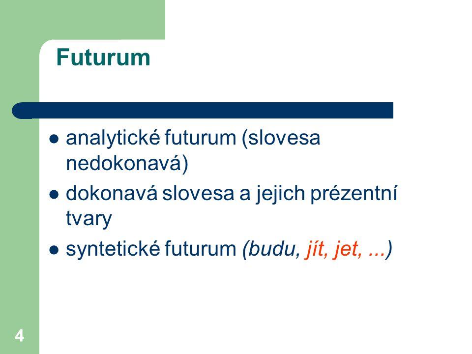 4 Futurum analytické futurum (slovesa nedokonavá) dokonavá slovesa a jejich prézentní tvary syntetické futurum (budu, jít, jet,...)