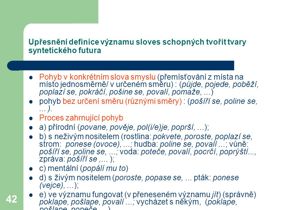 42 Upřesnění definice významu sloves schopných tvořit tvary syntetického futura Pohyb v konkrétním slova smyslu (přemísťování z místa na místo jednosm