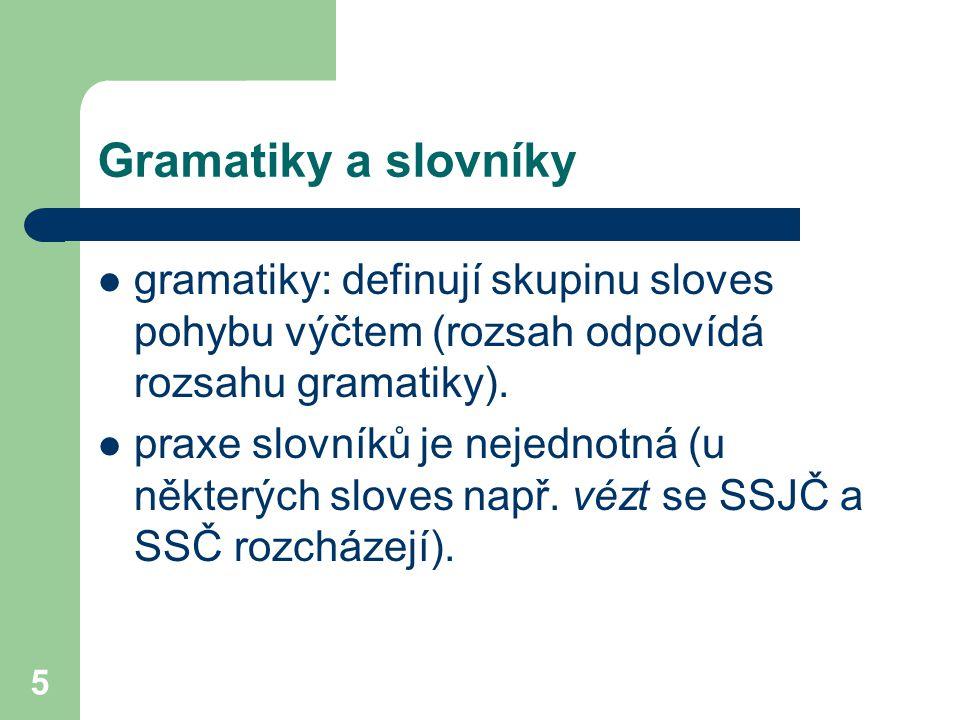5 Gramatiky a slovníky gramatiky: definují skupinu sloves pohybu výčtem (rozsah odpovídá rozsahu gramatiky). praxe slovníků je nejednotná (u některých