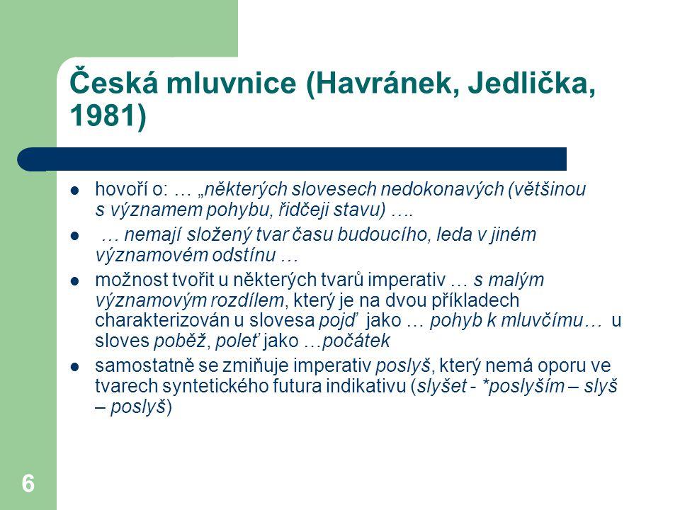 """6 Česká mluvnice (Havránek, Jedlička, 1981) hovoří o: … """"některých slovesech nedokonavých (většinou s významem pohybu, řidčeji stavu) …. … nemají slož"""