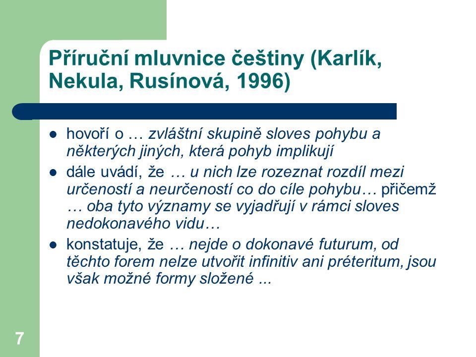 7 Příruční mluvnice češtiny (Karlík, Nekula, Rusínová, 1996) hovoří o … zvláštní skupině sloves pohybu a některých jiných, která pohyb implikují dále