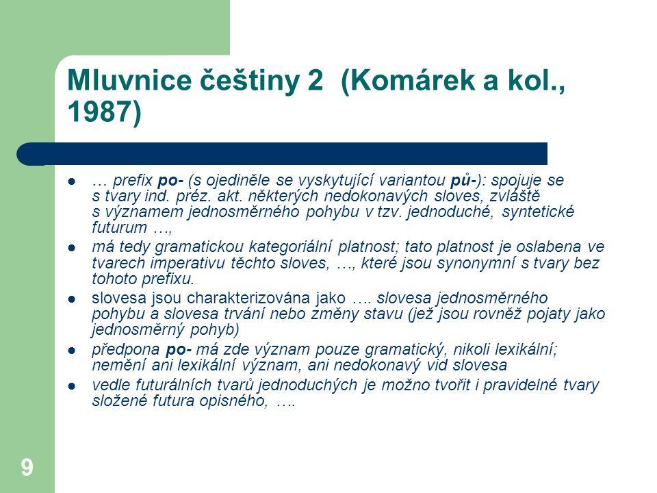 9 Mluvnice češtiny 2 (Komárek a kol., 1987) … prefix po- (s ojediněle se vyskytující variantou pů-): spojuje se s tvary ind. préz. akt. některých nedo