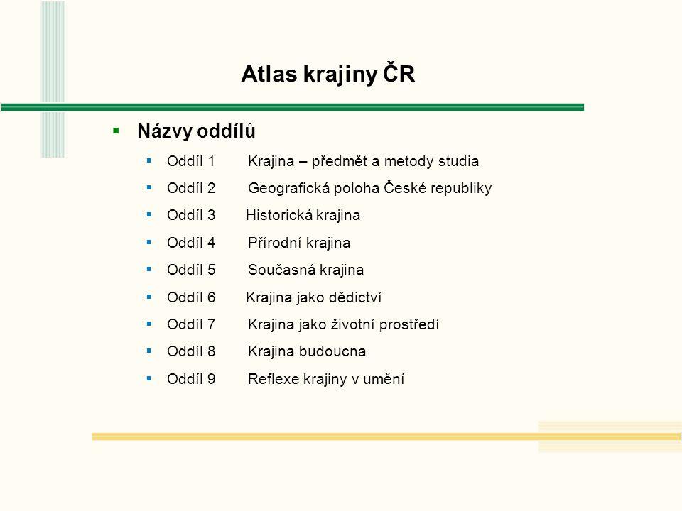 oddíly Atlas krajiny ČR  Metadatový záznam položky AK ČR  podporuje lepší orientaci v oddílech  specifikuje název, měřítko, autora, organizaci atd.