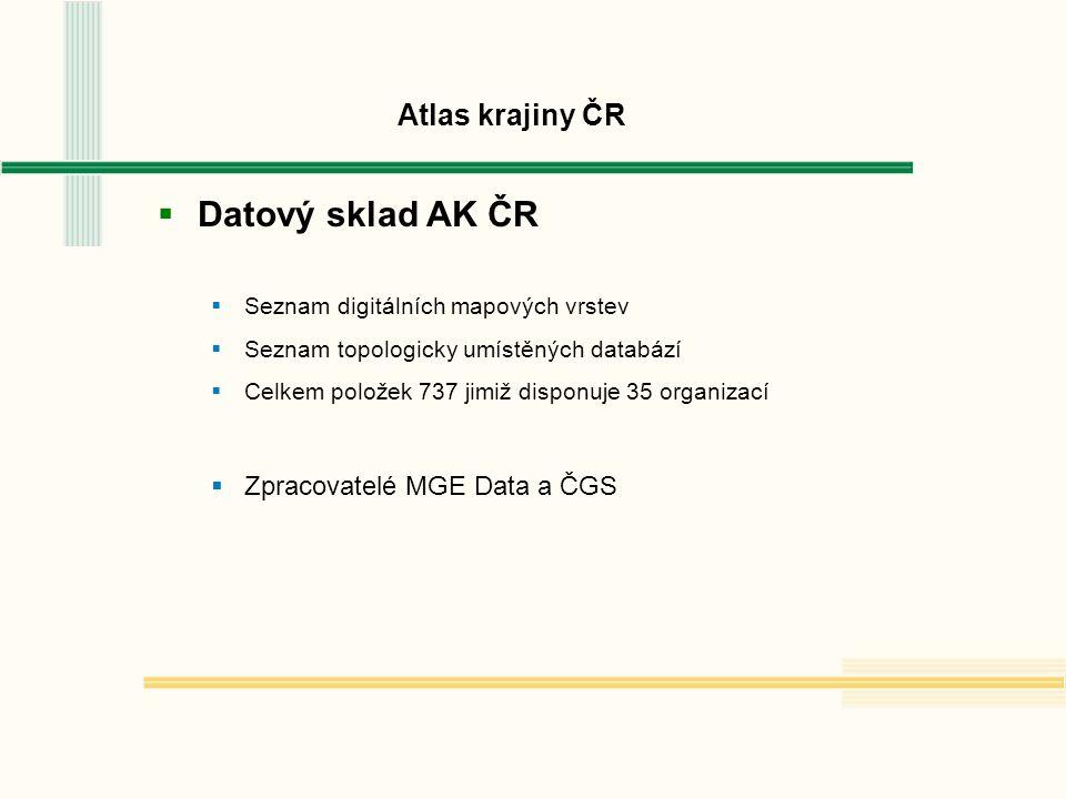 Atlas krajiny ČR  Datový sklad AK ČR  Seznam digitálních mapových vrstev  Seznam topologicky umístěných databází  Celkem položek 737 jimiž disponuje 35 organizací  Zpracovatelé MGE Data a ČGS
