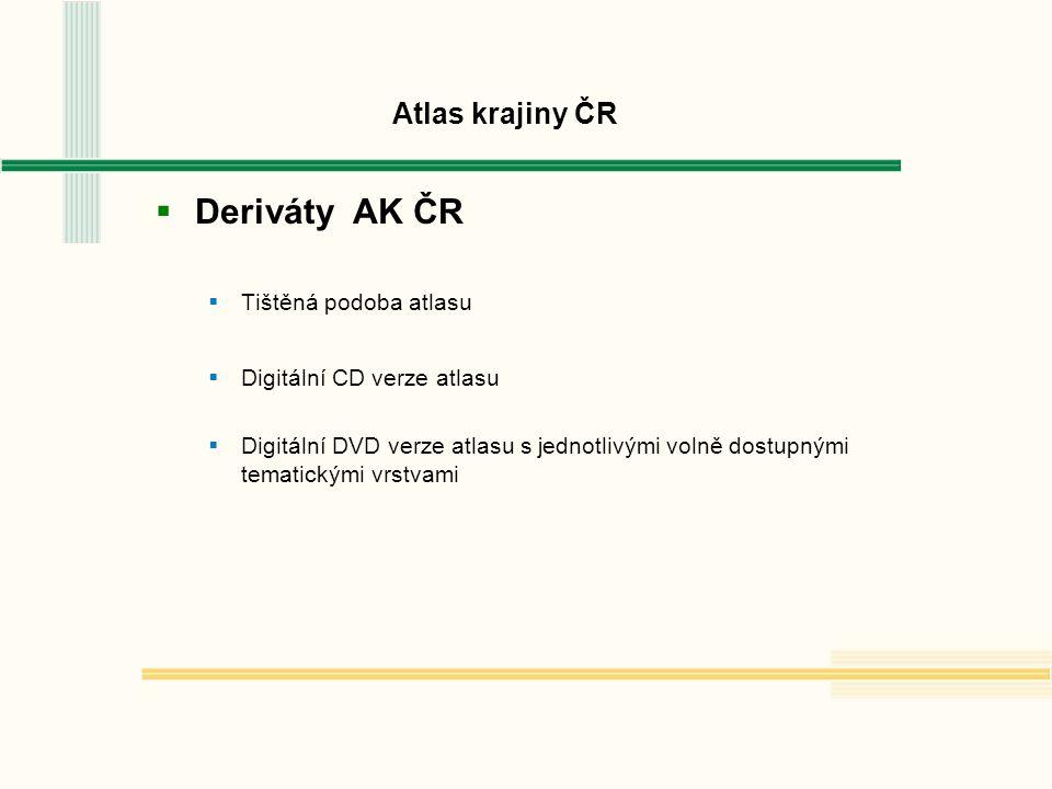 Atlas krajiny ČR  Deriváty AK ČR  Tištěná podoba atlasu  Digitální CD verze atlasu  Digitální DVD verze atlasu s jednotlivými volně dostupnými tematickými vrstvami
