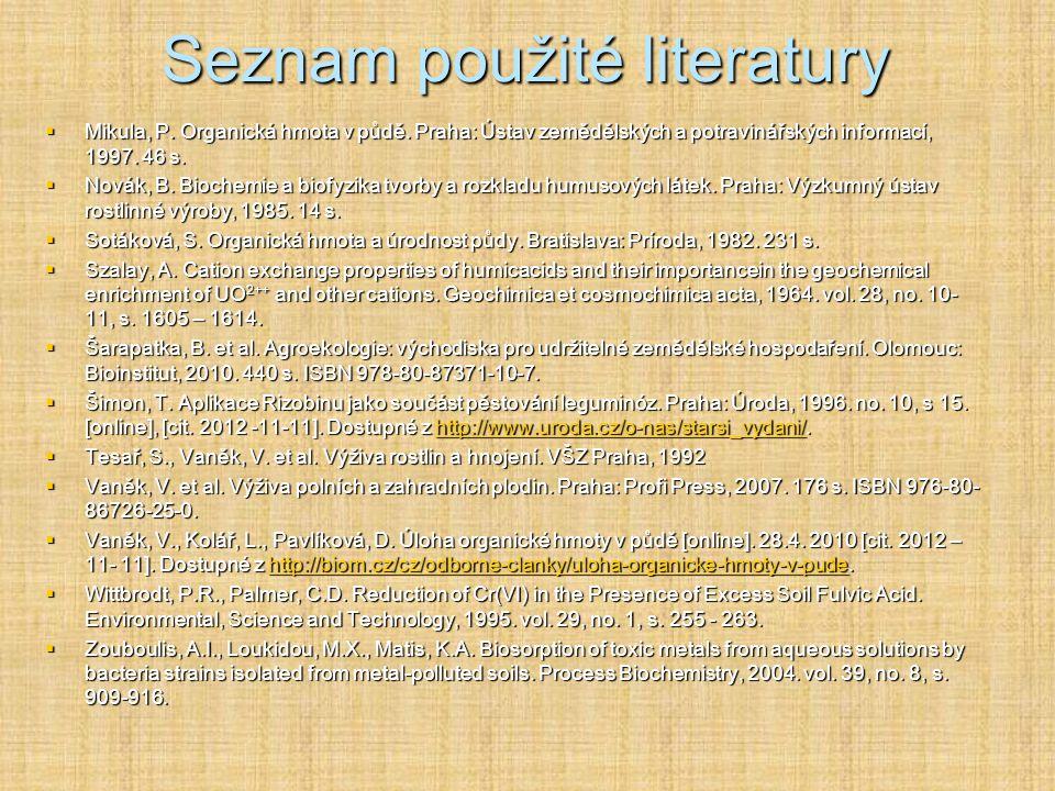 Seznam použité literatury  Balík, J. et al. Mobilita látek a prvků v rhizosféře. Praha: ČZU, 2008. 150 s. ISBN 978-80-213-186-1-8.  Bouché, M. B. St