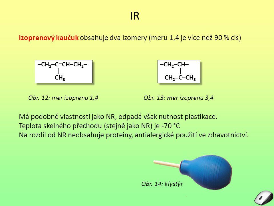IR Izoprenový kaučuk obsahuje dva izomery (meru 1,4 je více než 90 % cis) Obr. 12: mer izoprenu 1,4 –CH 2 –C=CH–CH 2 – | CH 3 –CH 2 –C=CH–CH 2 – | CH