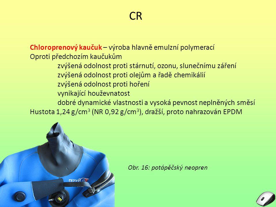 CR Chloroprenový kaučuk – výroba hlavně emulzní polymerací Oproti předchozím kaučukům zvýšená odolnost proti stárnutí, ozonu, slunečnímu záření zvýšen