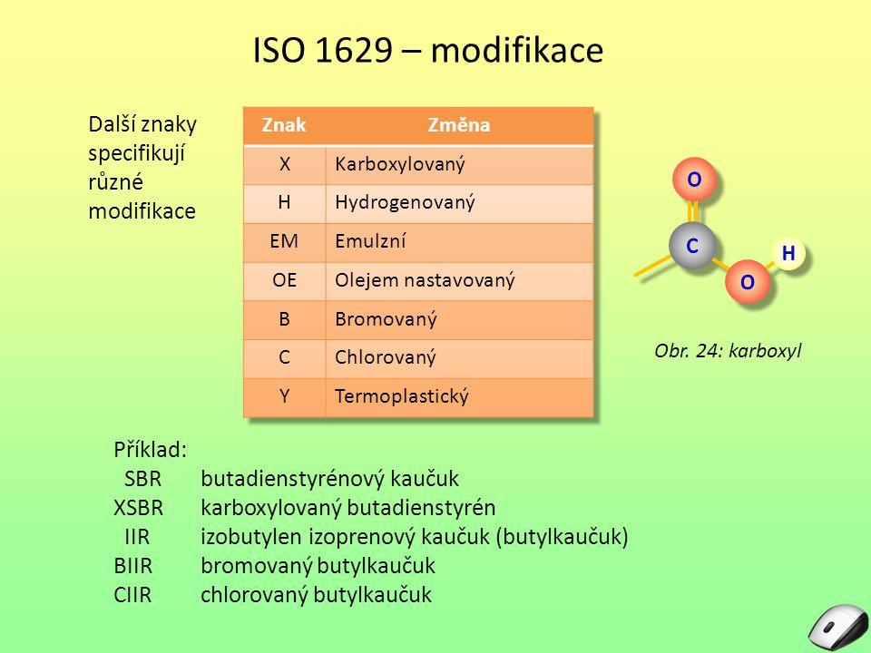 ISO 1629 – modifikace Další znaky specifikují různé modifikace Obr. 24: karboxyl Příklad: SBRbutadienstyrénový kaučuk XSBRkarboxylovaný butadienstyrén