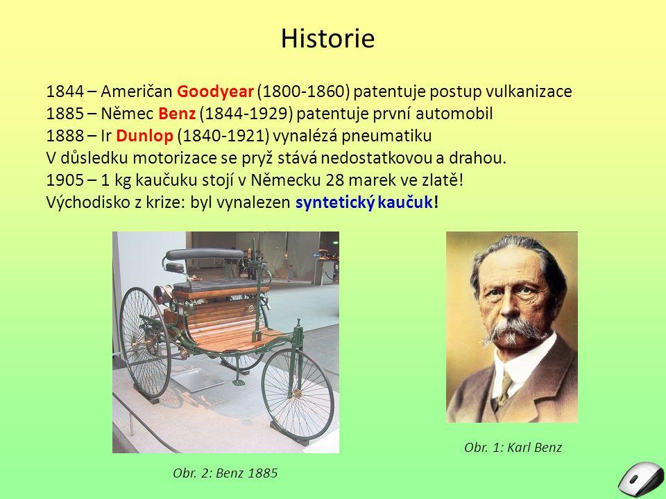 Historie 1844 – Američan Goodyear (1800-1860) patentuje postup vulkanizace 1885 – Němec Benz (1844-1929) patentuje první automobil 1888 – Ir Dunlop (1