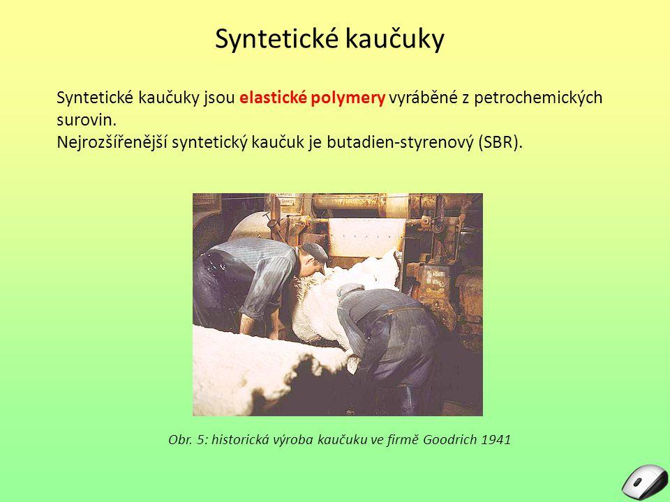 Syntetické kaučuky Syntetické kaučuky jsou elastické polymery vyráběné z petrochemických surovin. Nejrozšířenější syntetický kaučuk je butadien-styren