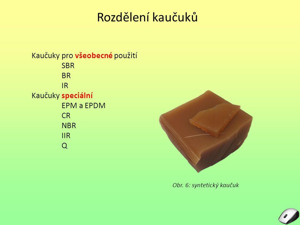 Rozdělení kaučuků Kaučuky pro všeobecné použití SBR BR IR Kaučuky speciální EPM a EPDM CR NBR IIR Q Obr. 6: syntetický kaučuk