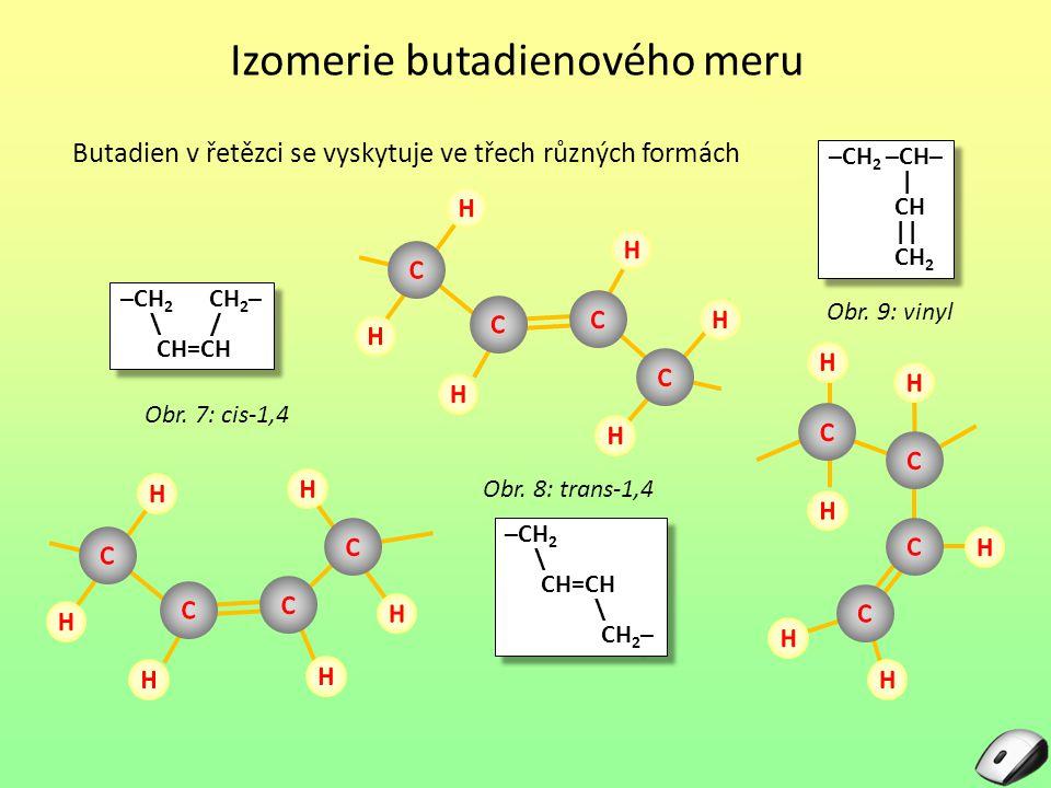 Izomerie butadienového meru Butadien v řetězci se vyskytuje ve třech různých formách Obr. 8: trans-1,4 –CH 2 –CH– | CH || CH 2 –CH 2 –CH– | CH || CH 2