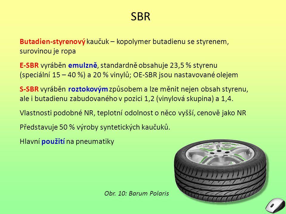 SBR Butadien-styrenový kaučuk – kopolymer butadienu se styrenem, surovinou je ropa E-SBR vyráběn emulzně, standardně obsahuje 23,5 % styrenu (speciáln