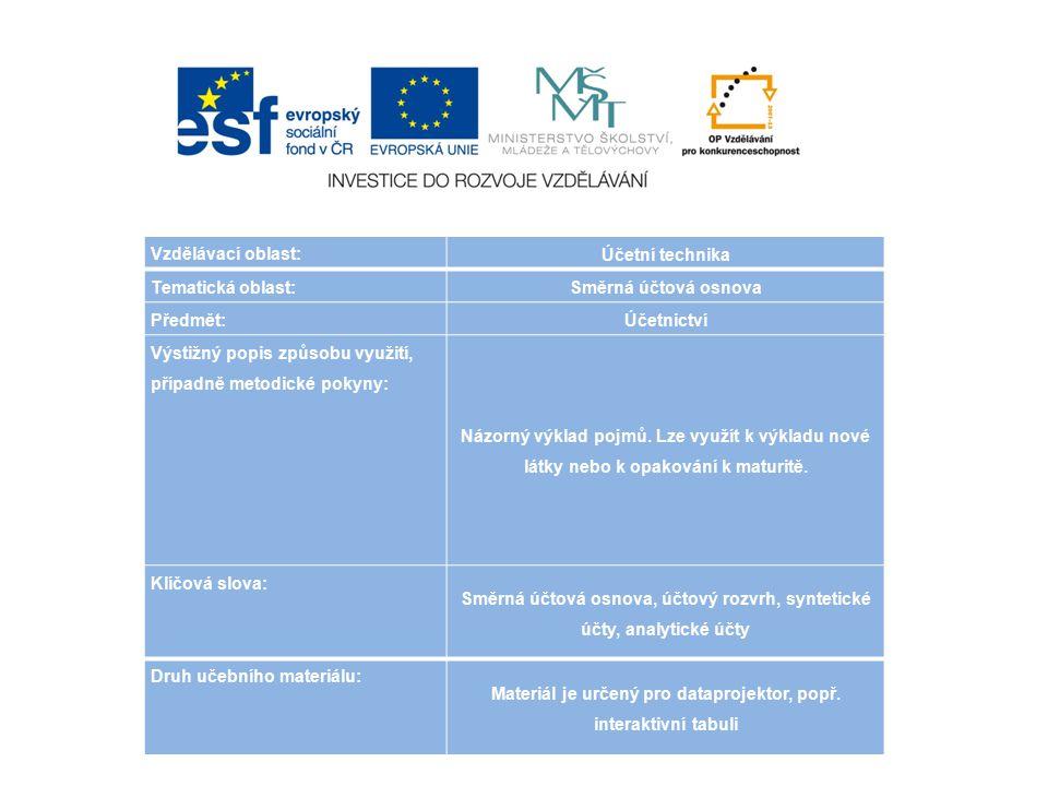 Vzdělávací oblast: Účetní technika Tematická oblast: Směrná účtová osnova Předmět: Účetnictví Výstižný popis způsobu využití, případně metodické pokyny: Názorný výklad pojmů.