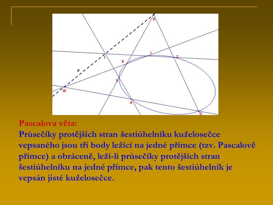 Pascalova věta: Průsečíky protějších stran šestiúhelníku kuželosečce vepsaného jsou tři body ležící na jedné přímce (tzv. Pascalově přímce) a obráceně