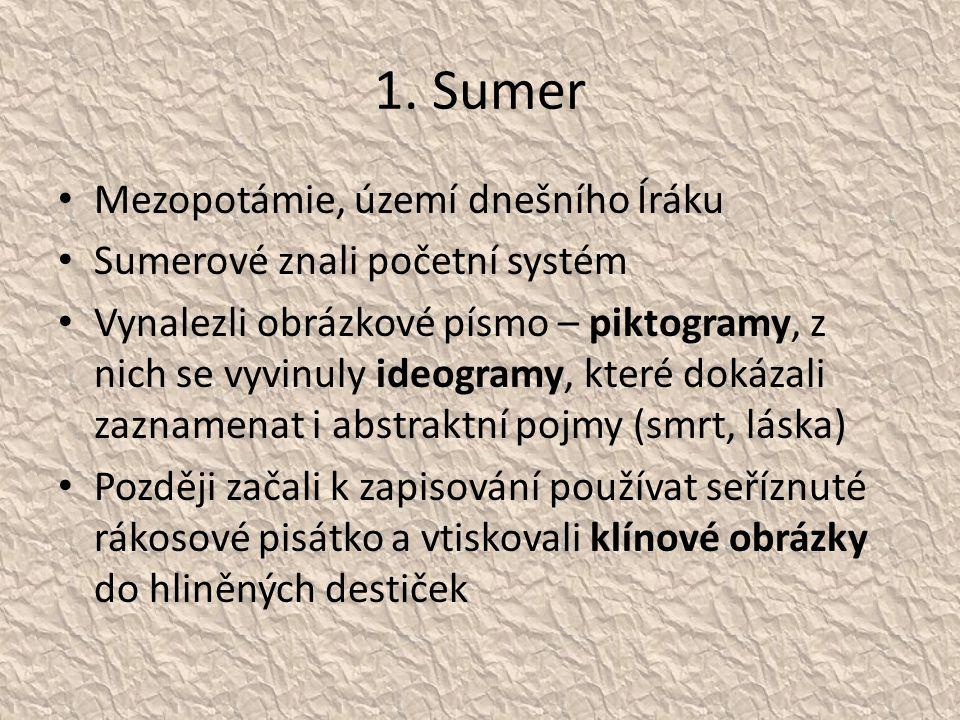 1. Sumer Mezopotámie, území dnešního Íráku Sumerové znali početní systém Vynalezli obrázkové písmo – piktogramy, z nich se vyvinuly ideogramy, které d