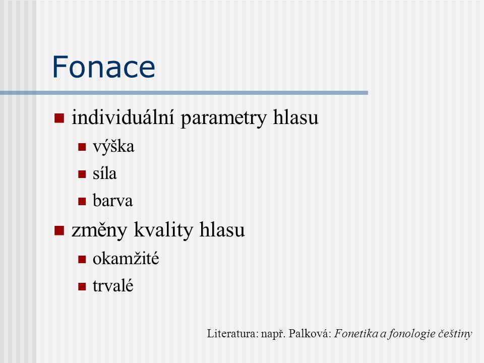 Fonace individuální parametry hlasu výška síla barva změny kvality hlasu okamžité trvalé Literatura: např. Palková: Fonetika a fonologie češtiny