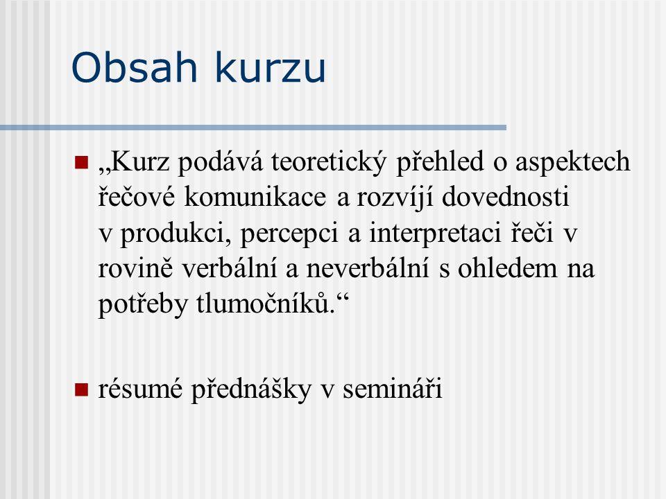 Přehled témat 1.Zvuková složka jazykové komunikace, nonverbální komunikace 2.