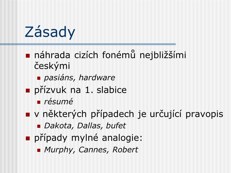 Zásady náhrada cizích fonémů nejbližšími českými pasiáns, hardware přízvuk na 1. slabice résumé v některých případech je určující pravopis Dakota, Dal