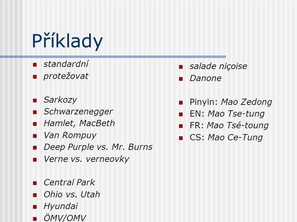Příklady standardní protežovat Sarkozy Schwarzenegger Hamlet, MacBeth Van Rompuy Deep Purple vs. Mr. Burns Verne vs. verneovky Central Park Ohio vs. U