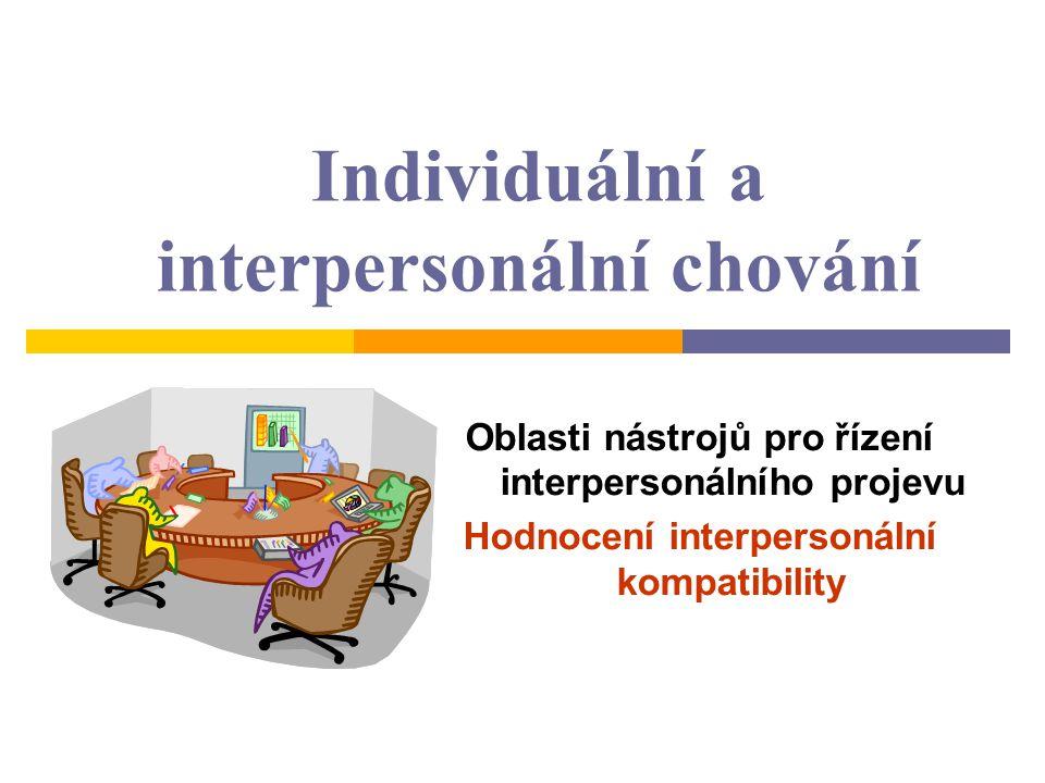 Individuální a interpersonální chování Oblasti nástrojů pro řízení interpersonálního projevu Hodnocení interpersonální kompatibility