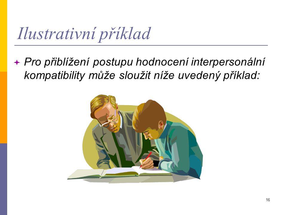 16 Ilustrativní příklad  Pro přiblížení postupu hodnocení interpersonální kompatibility může sloužit níže uvedený příklad:
