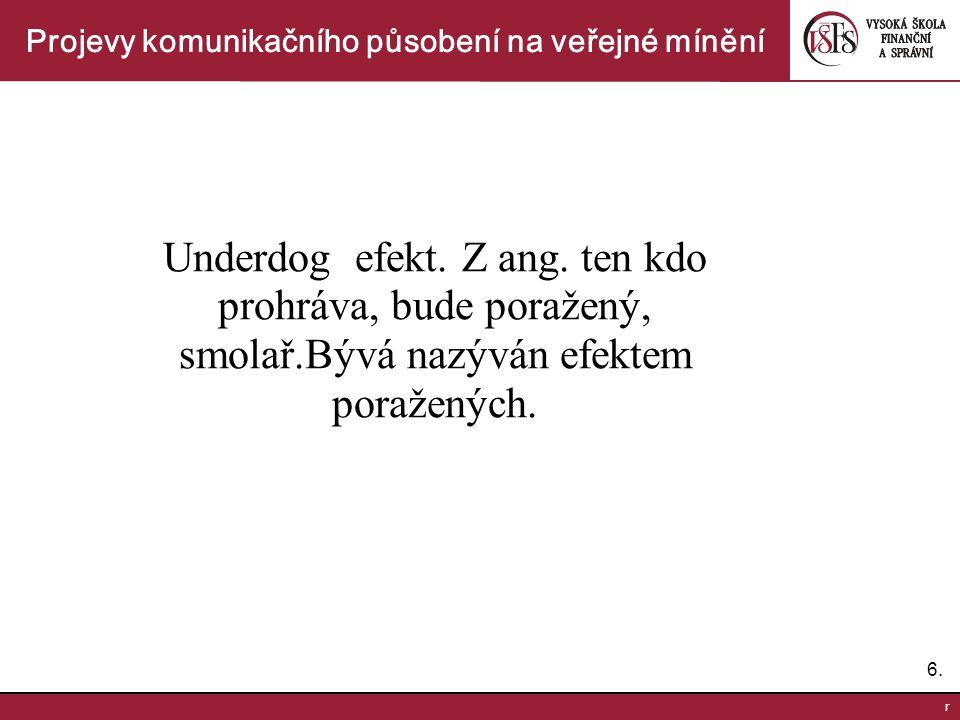 7.7.r Projevy komunikačního působení na veřejné mínění Efekty výzkumu veřejného mínění.