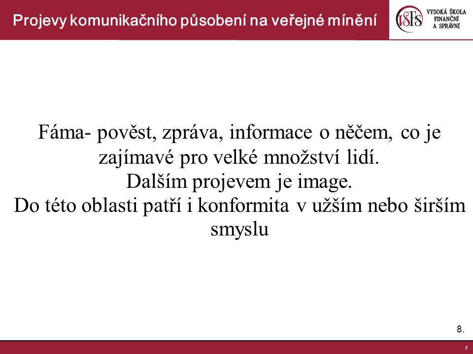 9.9.r Projevy komunikačního působení na veřejné mínění V rámci sociální skupiny plní řadu funkcí.