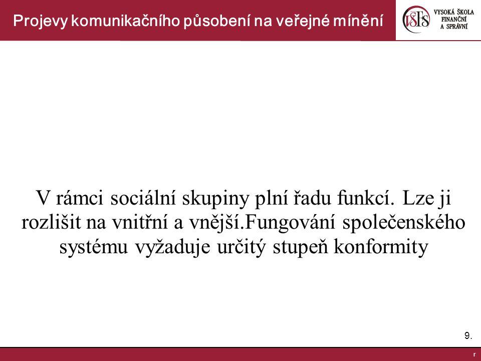 9.9. r Projevy komunikačního působení na veřejné mínění V rámci sociální skupiny plní řadu funkcí.
