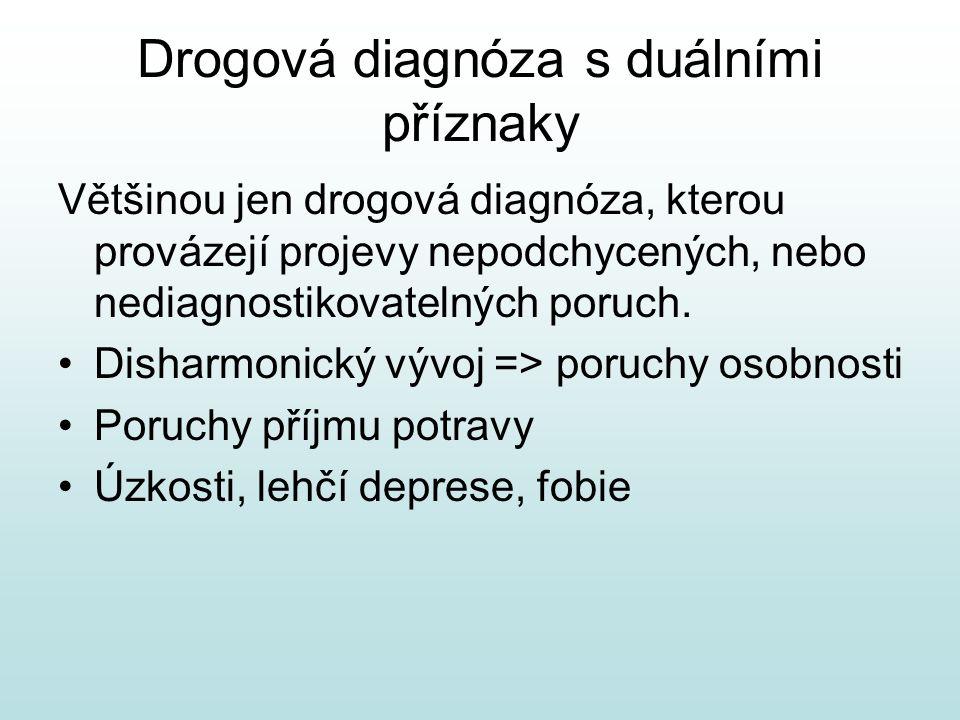 Drogová diagnóza s duálními příznaky Většinou jen drogová diagnóza, kterou provázejí projevy nepodchycených, nebo nediagnostikovatelných poruch.