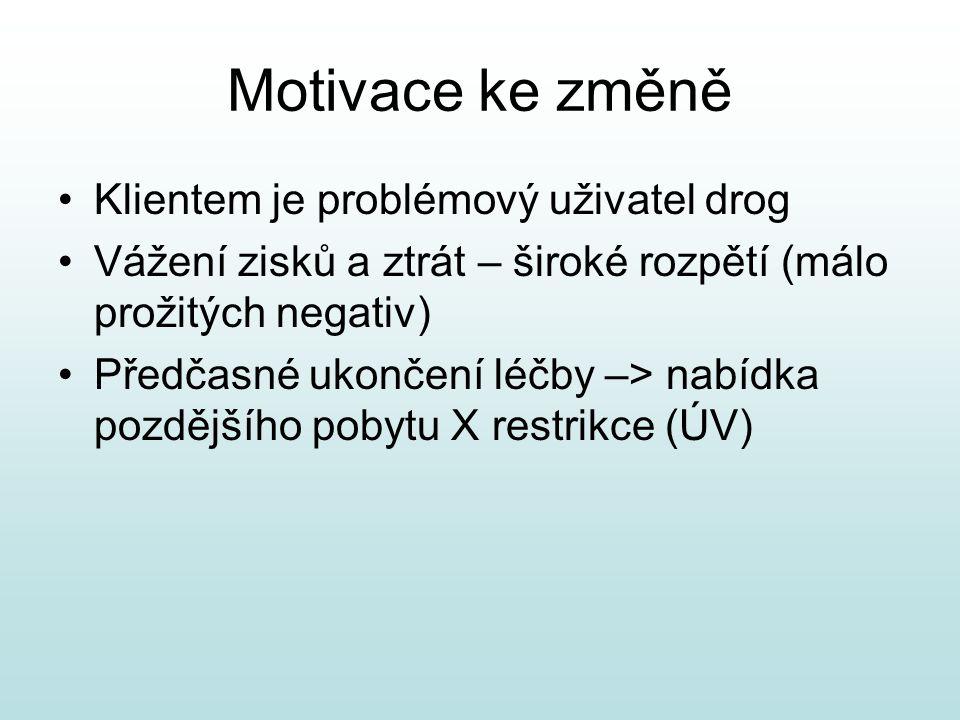 Motivace ke změně Klientem je problémový uživatel drog Vážení zisků a ztrát – široké rozpětí (málo prožitých negativ) Předčasné ukončení léčby –> nabídka pozdějšího pobytu X restrikce (ÚV)