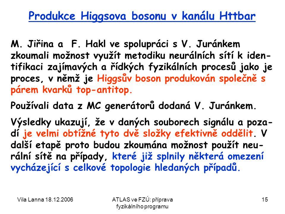 Vila Lanna 18.12.2006ATLAS ve FZÚ: příprava fyzikálního programu 15 Produkce Higgsova bosonu v kanálu Httbar M.