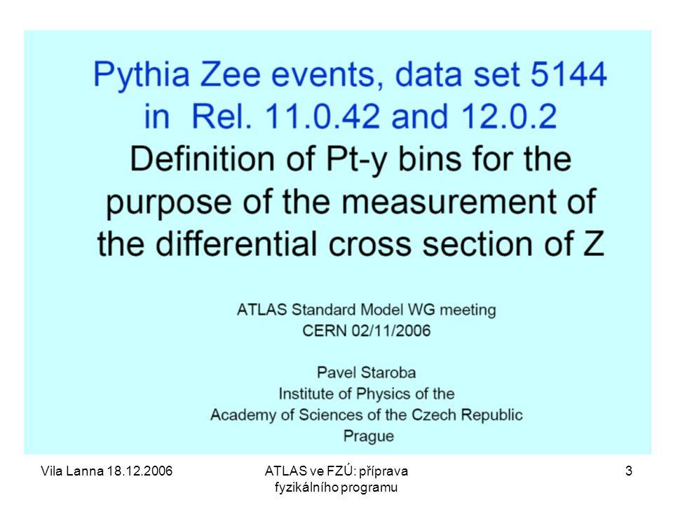 Vila Lanna 18.12.2006ATLAS ve FZÚ: příprava fyzikálního programu 3
