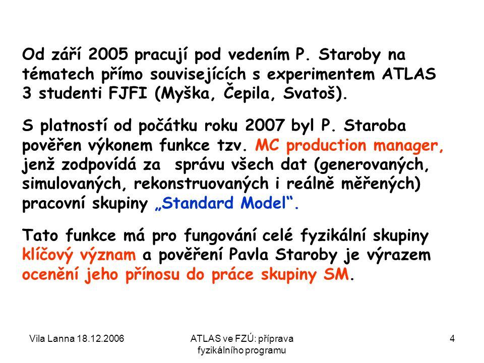 Vila Lanna 18.12.2006ATLAS ve FZÚ: příprava fyzikálního programu 5