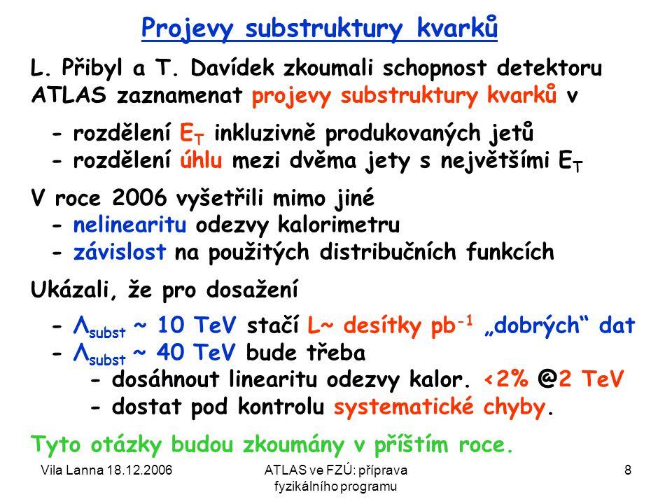 Vila Lanna 18.12.2006ATLAS ve FZÚ: příprava fyzikálního programu 8 Projevy substruktury kvarků L.