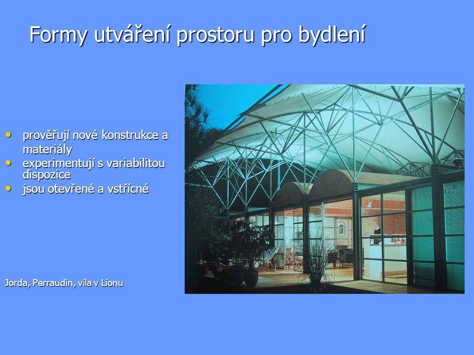 Formy utváření prostoru pro bydlení prověřují nové konstrukce a prověřují nové konstrukce amateriály experimentují s variabilitou dispozice experimentují s variabilitou dispozice jsou otevřené a vstřícné jsou otevřené a vstřícné Jorda, Perraudin, vila v Lionu