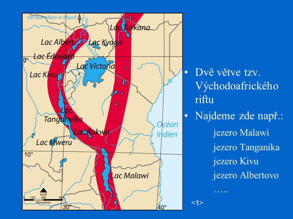 Dvě větve tzv. Východoafrického riftu Najdeme zde např.: jezero Malawi jezero Tanganika jezero Kivu jezero Albertovo …..