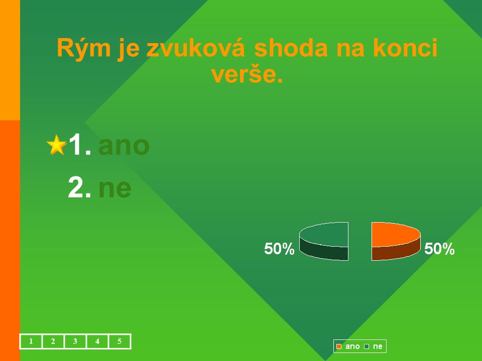 Rým je zvuková shoda na konci verše. 1.ano 2.ne 12345