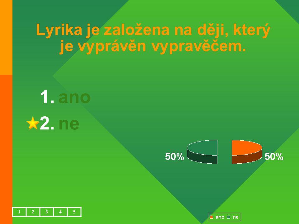 Lyrika je založena na ději, který je vyprávěn vypravěčem. 1.ano 2.ne 12345