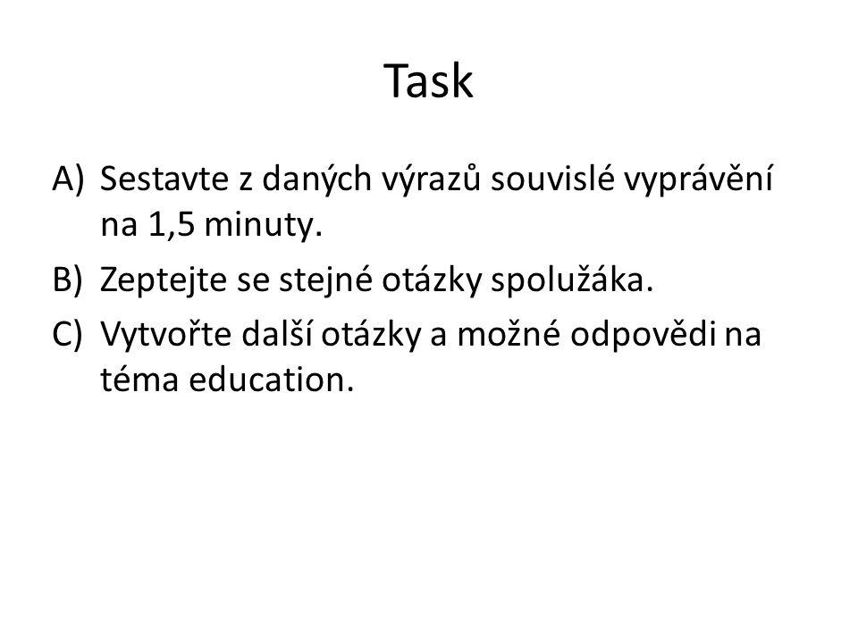 Task A)Sestavte z daných výrazů souvislé vyprávění na 1,5 minuty.