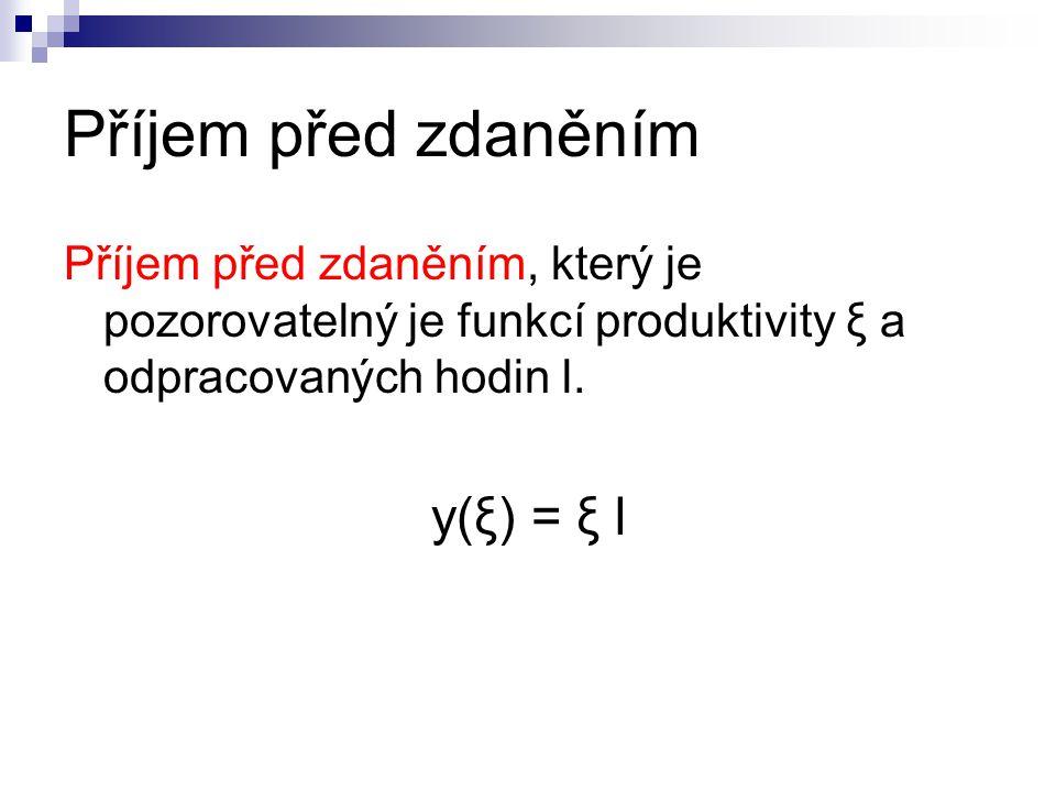 Příjem před zdaněním Příjem před zdaněním, který je pozorovatelný je funkcí produktivity ξ a odpracovaných hodin l. y(ξ) = ξ l