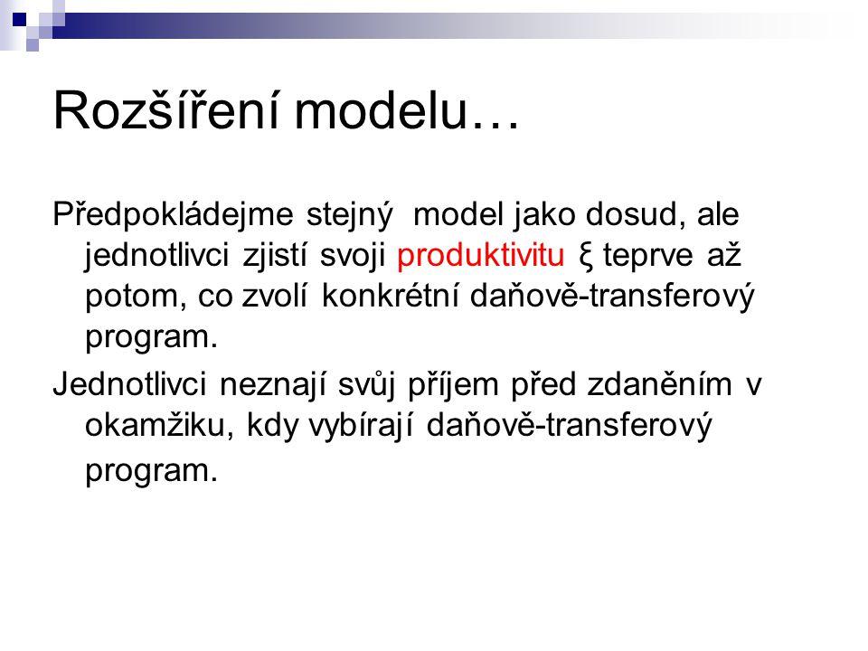 Rozšíření modelu… Předpokládejme stejný model jako dosud, ale jednotlivci zjistí svoji produktivitu ξ teprve až potom, co zvolí konkrétní daňově-trans