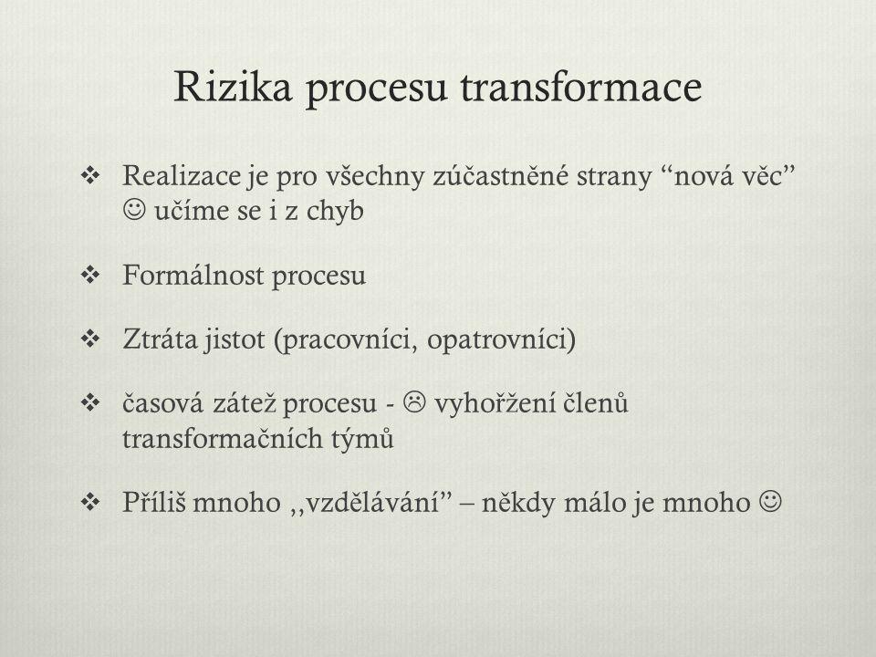 """Rizika procesu transformace  Realizace je pro všechny zú č astn ě né strany """"nová v ě c"""" u č íme se i z chyb  Formálnost procesu  Ztráta jistot (pr"""
