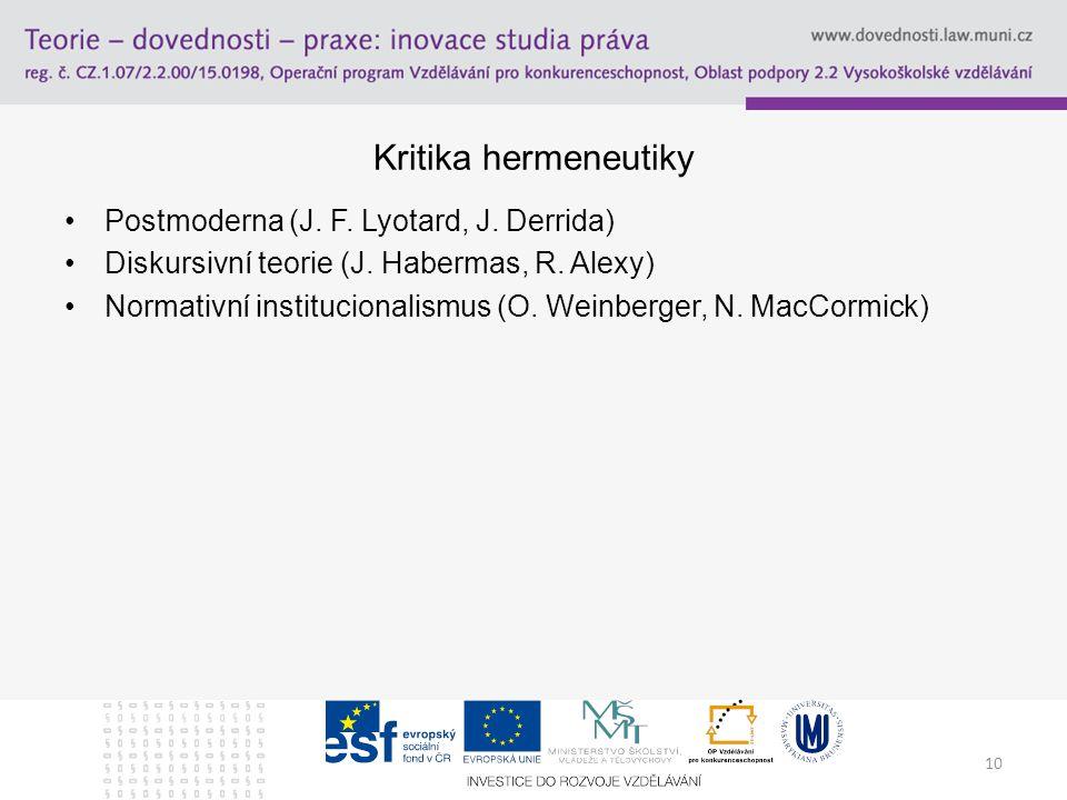 10 Kritika hermeneutiky Postmoderna (J. F. Lyotard, J. Derrida) Diskursivní teorie (J. Habermas, R. Alexy) Normativní institucionalismus (O. Weinberge